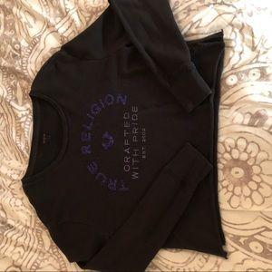 True religion, black cropped sweater.